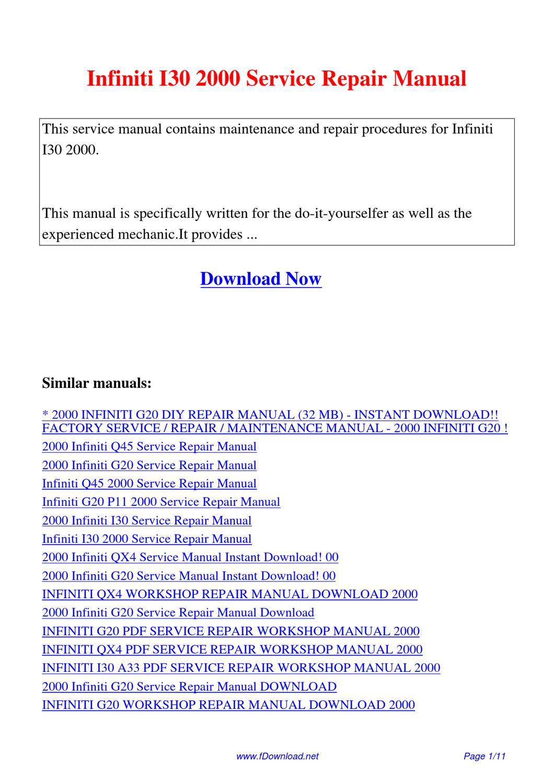 2000 infiniti i30 service manual