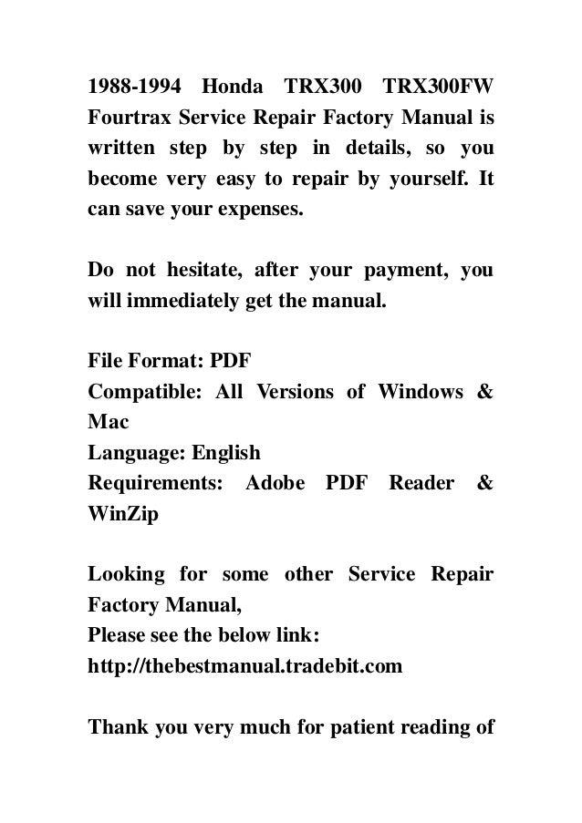 1988 1994 honda trx300 service manual