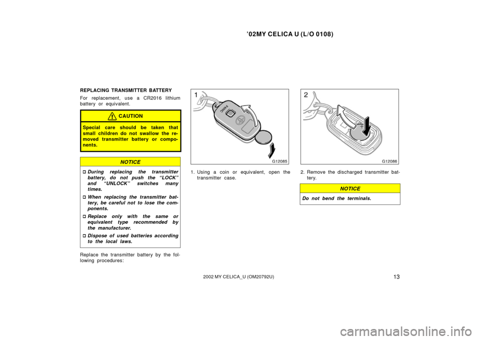 2002 toyota celica owners manual