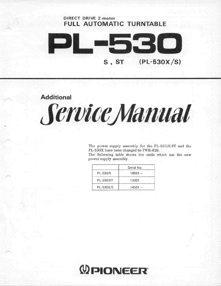 pioneer pl 530 service manual