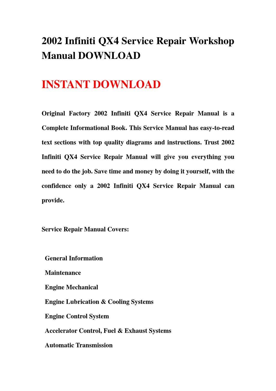 2002 infiniti qx4 service manual pdf