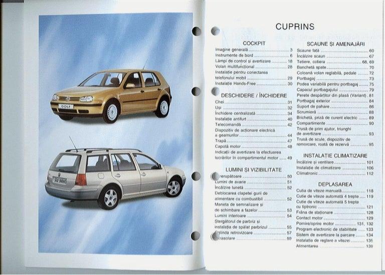 vw golf mk4 owners manual