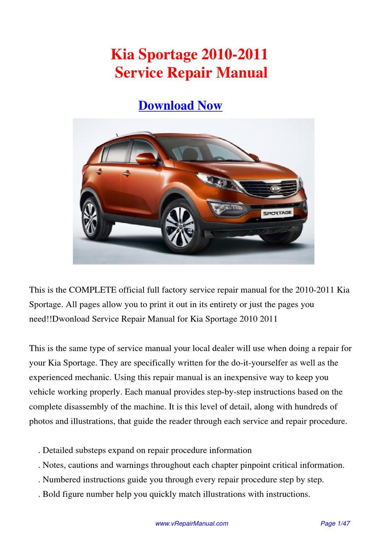 2011 kia sportage owners manual pdf