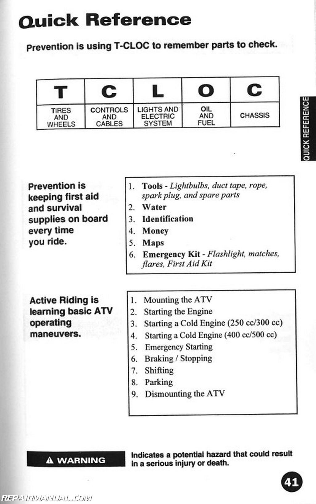 2001 arctic cat atv owners manual