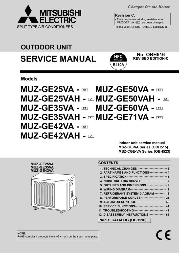mitsubishi msz ge24na service manual