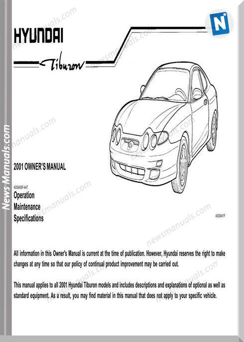 2001 hyundai tiburon owners manual