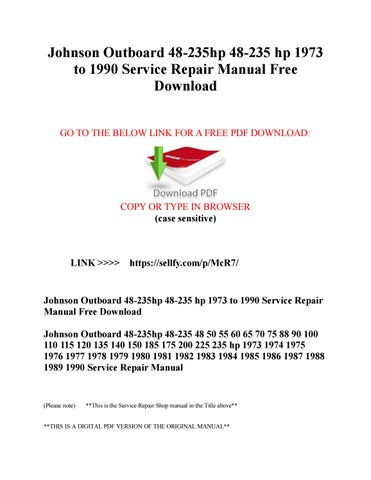 johnson outboard service manual free download
