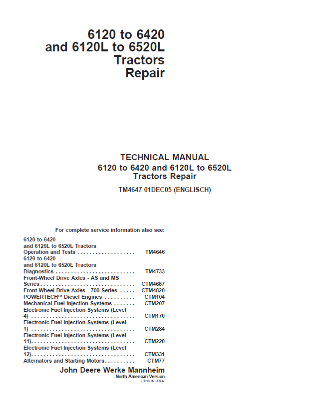 john deere 6420 service manual download
