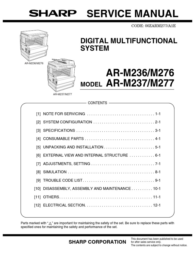 sharp ar m160 service manual pdf