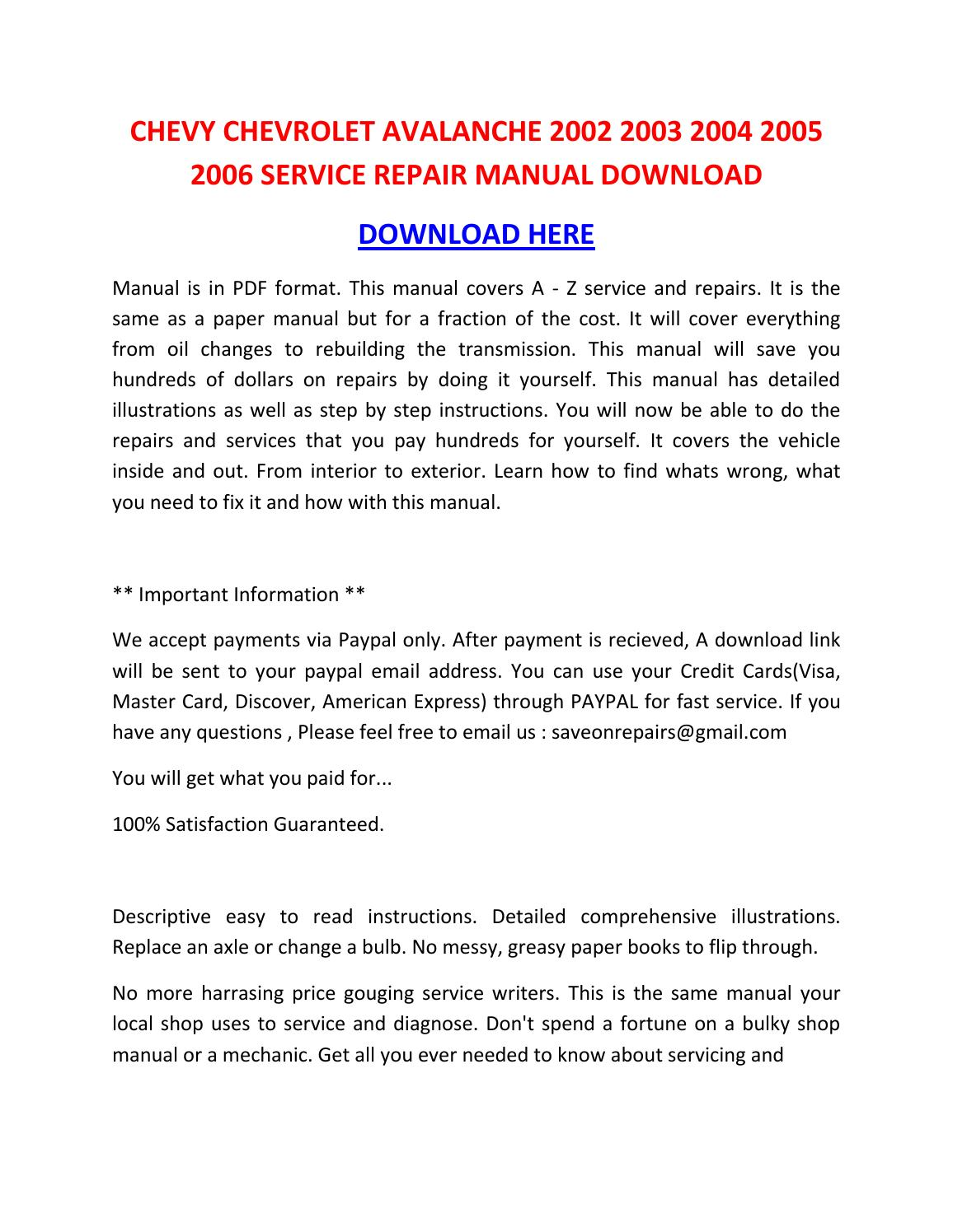 2004 chevy avalanche service manual pdf