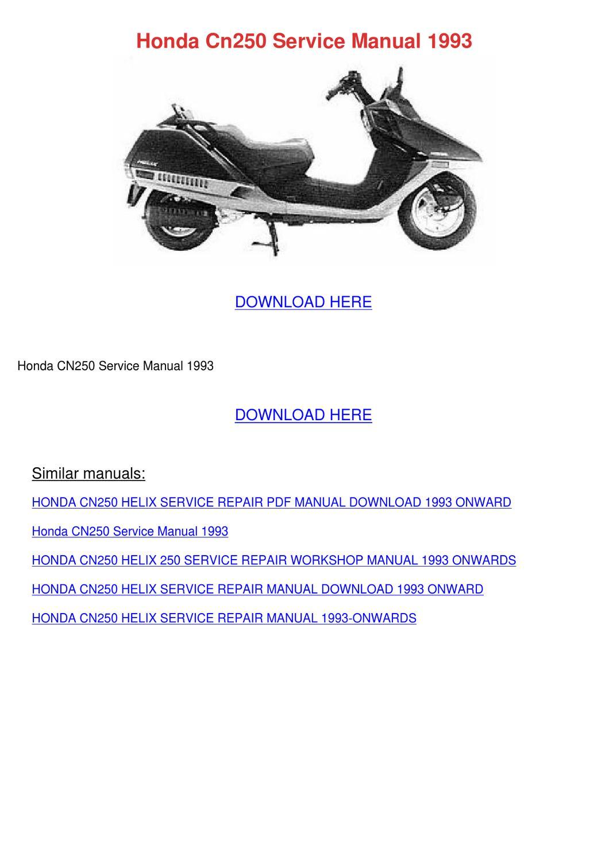 honda helix 250 service manual
